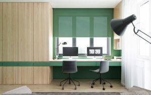 рабочий стол как часть встроенной мебели