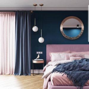 спальня в современном стиле с темными стенами