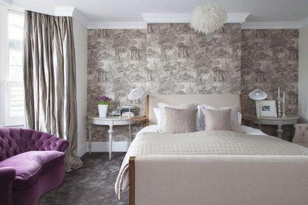 оформление акцентной стены в спальне