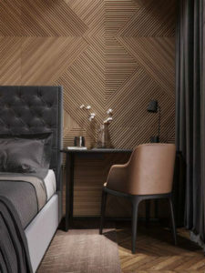 деревянные панели в интерьере современной спальни