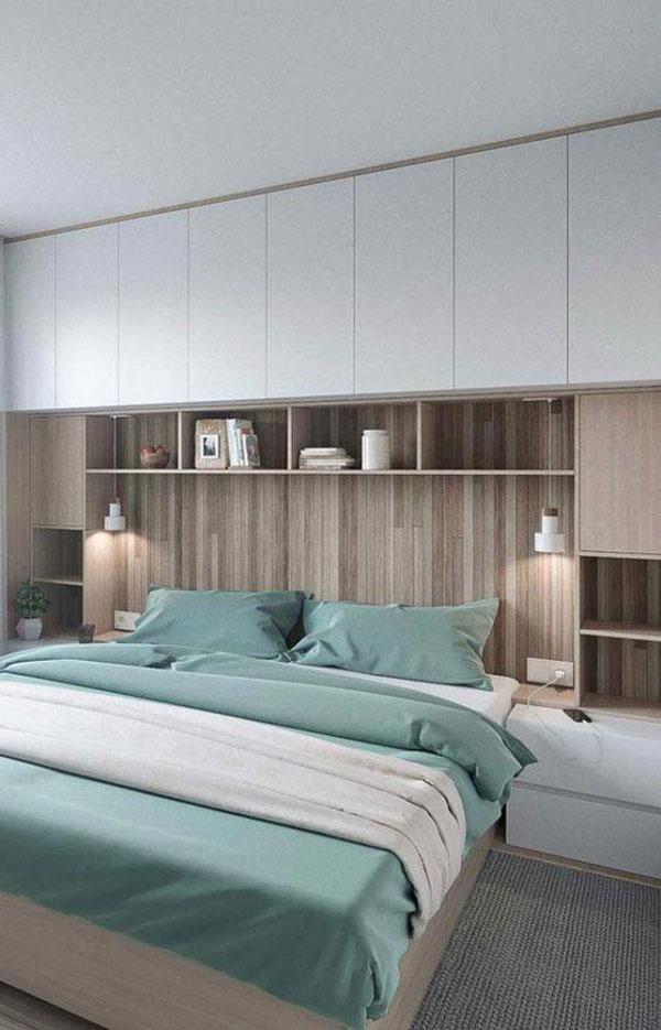 встроенная мебель для современной спальни с кроватью