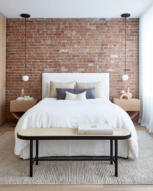 потолочные подвесы вместо прикроватных ламп в спальне