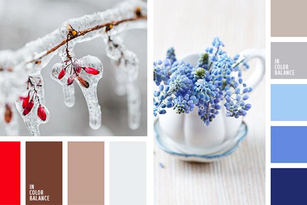 сочетание голубых и синих цветов с серым