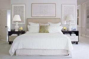 симметричная композиция в спальне по фен шуй для супругов