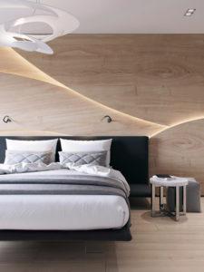 панели из светлого дерева с подсветкой на стене спальни