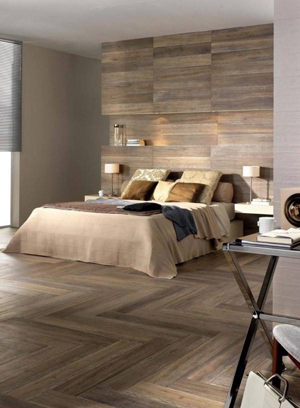 проект спальни с отделкой стен деревянными панелями