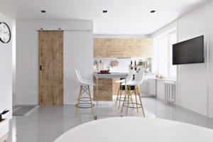 маленькая кухня гостиная белого цвета
