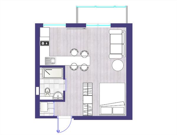 планировка квартиры студии 1