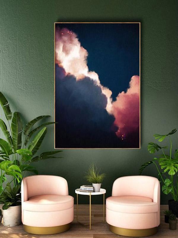 акцентные цвета интерьера совпадают с одним из активных цветов на картине