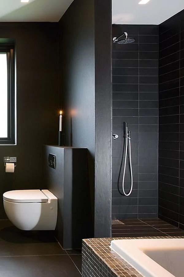 дизайн ванной в черном цвете