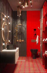 черная и красная плитка в ванной