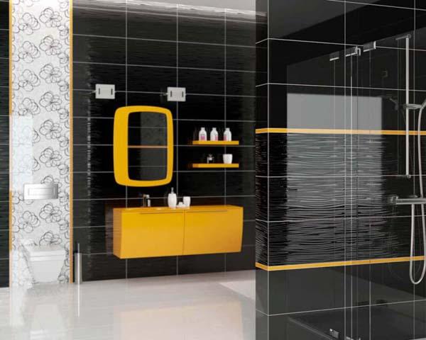 желтая и черная плитка в ванной