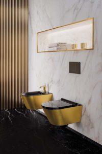сочетание черного с золотым в ванной
