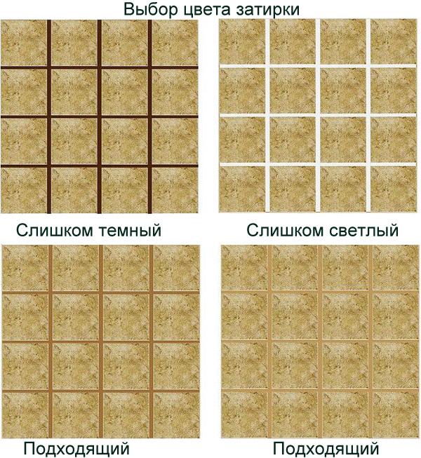одинаковая плитки и разные затирки