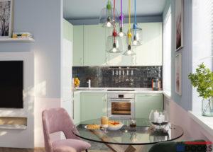 светло зеленая кухонная мебель