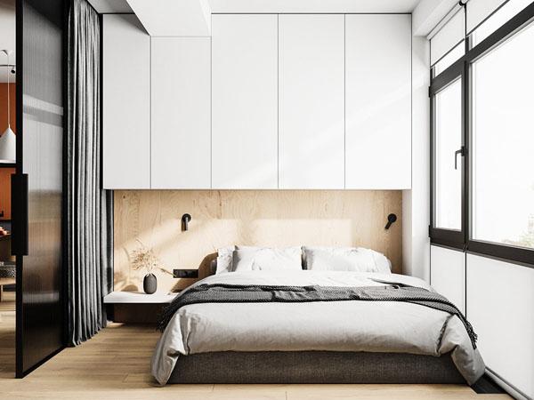дизайн спальной зоны у окна