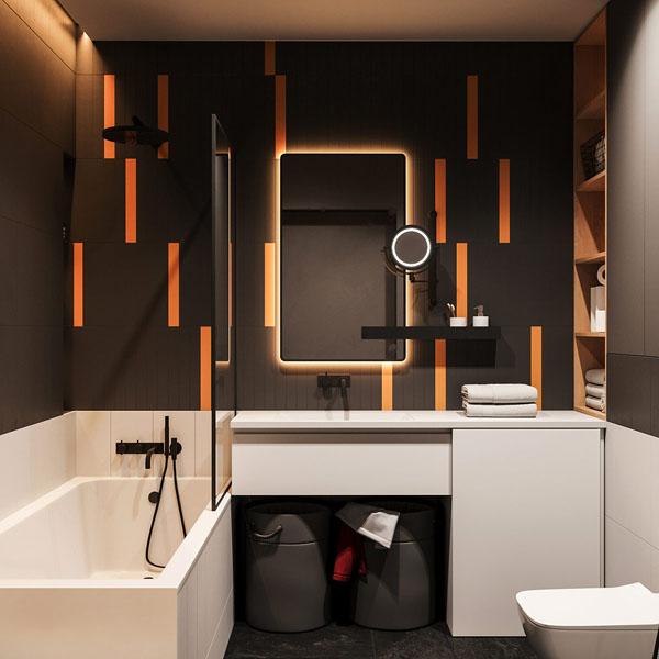 общий вид ванной комнаты с черными стенами