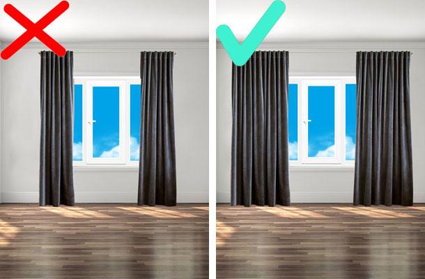 правильный размер полотна штор
