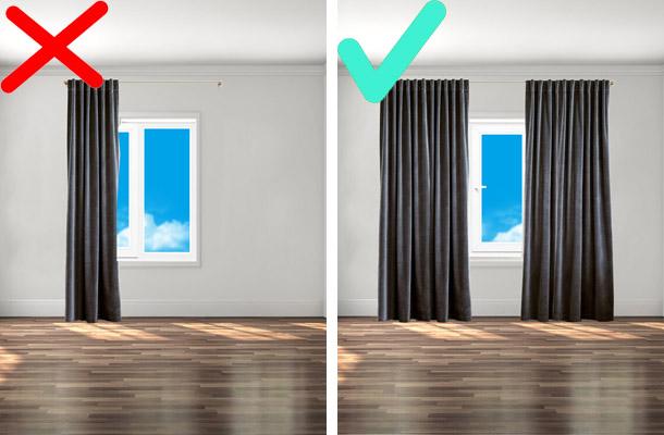 правильное расположение полотен штор