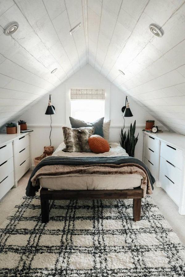 дизайн комнаты на узком чердаке