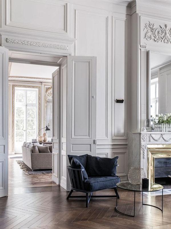 парижский стиль в интерьере гостиной