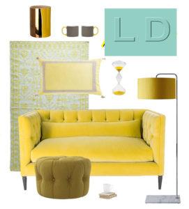 коллаж с желтым диваном