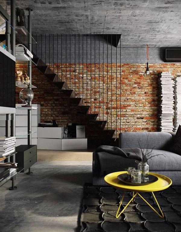кирпичная стена в интерьере в стиле лофт