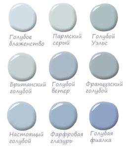 палитра голубого цвета для интерьтера