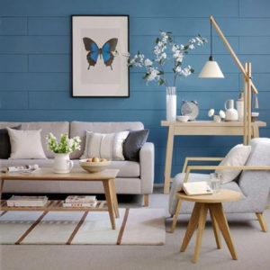 голубой цвет стен в интерьере