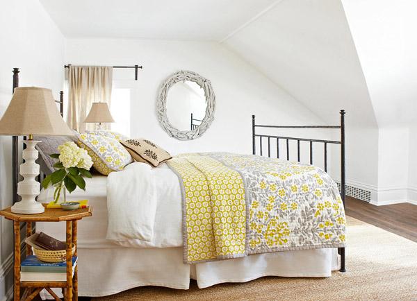 желтый акцент в спальне