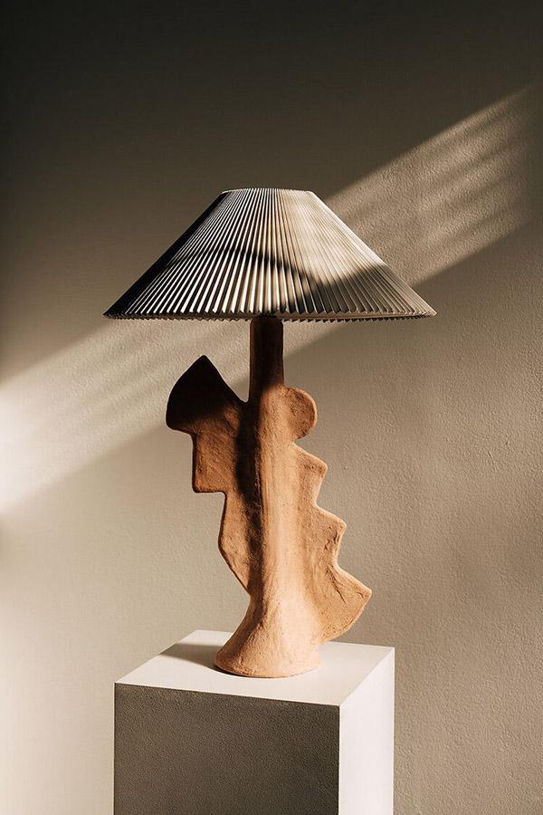 настольная лампа с абажуром плиссе